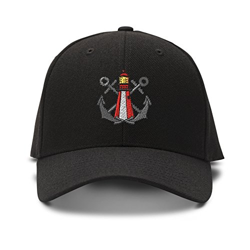 Crosses With Lighthouse Embroidery Embroidered Adjustable Hat Baseball Cap Black