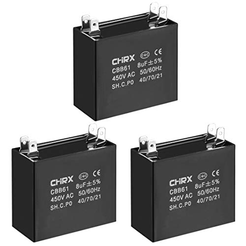 - uxcell CBB61 Run Capacitor 450V AC 8uF Doule Insert Metallized Polypropylene Film Capacitors for Ceiling Fan 3pcs