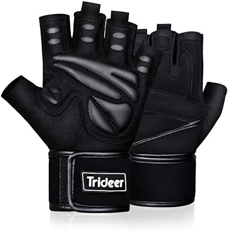 Trideer Workout Gloves Men, Gym Gloves with Wrist Support, Padded Weight Lifting Gloves Men for Fitness, Cross Training