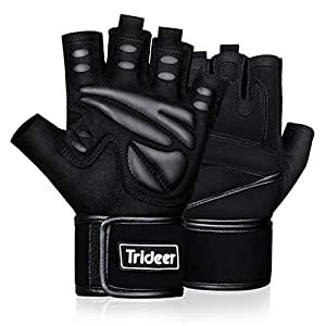 Trideer Padded Weight Lifting Gym Workout Gloves with Wrist Support, Exercise Lifting Gloves, Full Palm Protection…