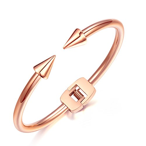 Fate Love Classical 18ct Rose Gold Plated Rivet Spike Nail Spring Hinge Bracelet Women Jewellery