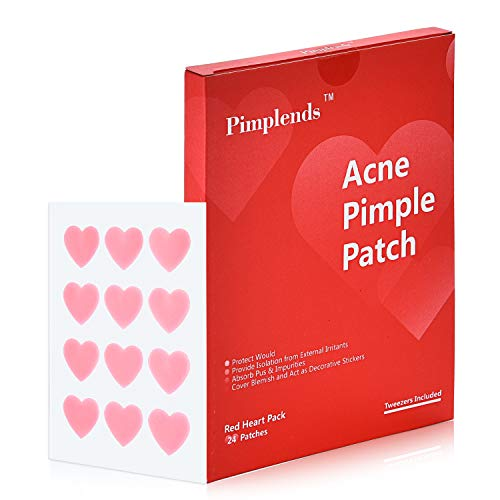 Acne Pimple Patch Drug-free Hydrocolloid Bandages Red Heart Shape | Acne Patch Pimple Pach | Acne Cover Patch | Acne Treatment Acne Stickers,Whiteheads Blackheads Remover (24 Patches)