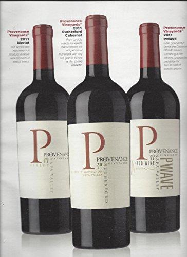 MAGAZINE ADVERTISEMENT For 2011 Provenance Vineyard Wines 3 Bottle Scene