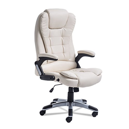 Civigrape Ergonomic Office Chair with Massage Function, High Back Desk Chair with Adjustable Height, Waist/Back Massage (White)