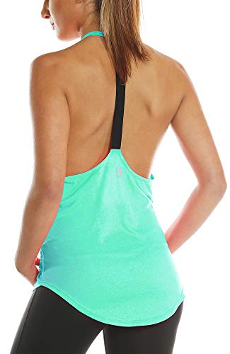 icyzone Workout Tank Tops for Women – Athletic Yoga Tops, T-Back Running Tank Top (M, Ice Green)