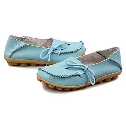 Oriskey Mocasines de cuero mujer Loafers Casual Zapatos Zapatillas Cielo Azul