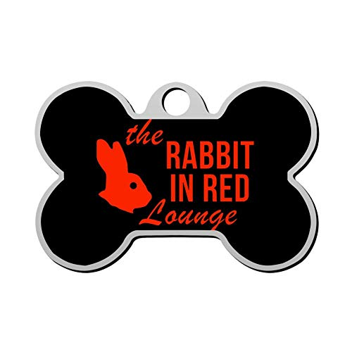 WJGPZH The Rabbit in Red Lounge Pet ID Tags Personalized Custom Print Bone Shape Dog Tags & Cat Tags