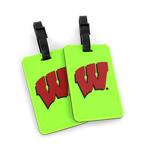 Wisconsin Badgers Soft Football - aminco NCAA Wisconsin Badgers Neon Soft Bag Tag, 2-Pack