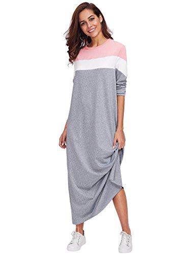 Milumia Womens Causal Contrast Color Block Long Sleeve Loose Pullover Sweatshirt Maxi Dress