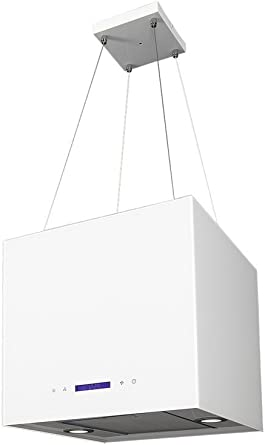 Isla Cubierta 40 Cm Blanco de 2 compartimento filtro de carbón activo recirculación Altura Regulable Hasta 1,5 m Campana extractora con temporizador 2 x Iluminación LED cocina campana Sandy Mini: Amazon.es: Grandes electrodomésticos