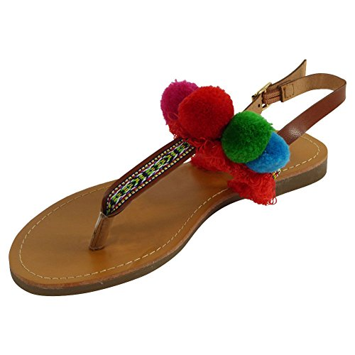 3 Beach Strap Toe Ladies 8 Red Womens Pom Flat Gladiator Size Pom Sandals Post New Shoes OxfznqwnAE