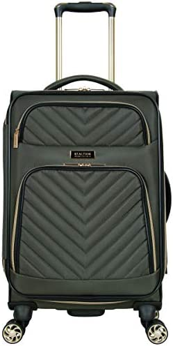 Kenneth Cole Reaction Women s Chelsea 20 Chevron Quilted Softside Expandable 8-Wheel Spinner Carry-On Suitcase, Olive, Inch