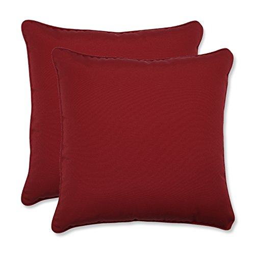 Pillow Perfect Decorative Red Solid Toss Pillows, Square, 2-Pack ()