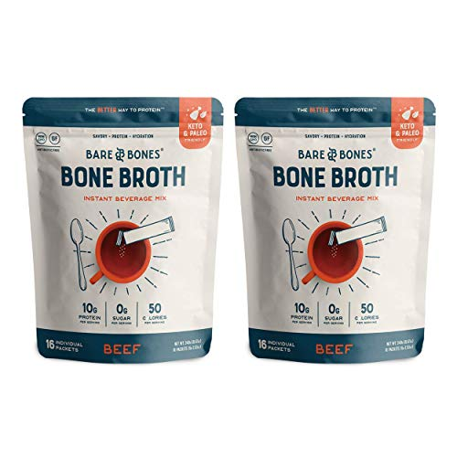 Bare Bones Bone Broth Instant Powdered Beverage Mix, Beef, 10g Protein, Keto & Paleo Friendly, 15g Sticks, Pack of 32 Servings