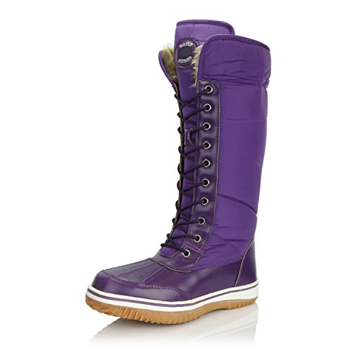 Women's DailyShoes Knee High 2-Tone Lace Up Decor Zipper Cowboy Warm Fur Water Resistant Eskimo Snow Boots, Purple, 7.5 (Boots Snow Purple)