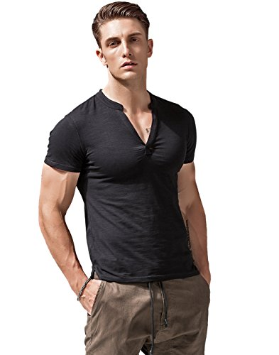V-neck Muscle Tee (XShing Mens Short Sleeve T Shirts Slim Fit Deep V Neck Athletic Casual)