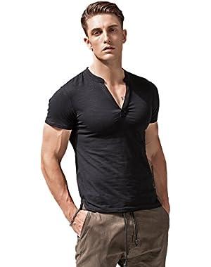 Mens Short Sleeve T Shirts Slim Fit Deep V Neck Athletic Casual