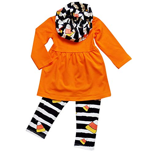 So Sydney Toddler Girls 3 Pc Halloween Fall Tunic Top Leggings Outfit, Infinity Scarf (L (5), Candy Corn Stripe) ()