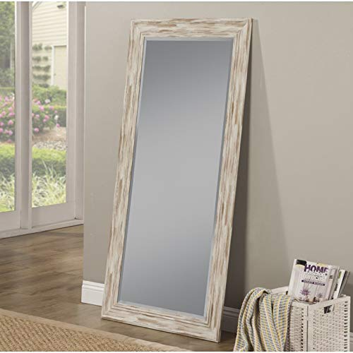 Full Length Wall Mirror - Rustic Rectangular Shape Horizontal & Vertical Mirror - Can Be Use in Living Room, Bedroom, Entryway or Bathroom (Antique White Wash) (White Antique Wash)