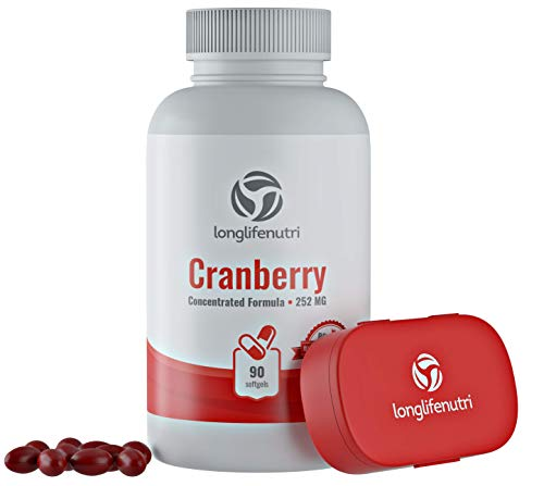 Cranberry Pills 90 Capsules | Urinary Tract Infection UTI | Triple Strength Potency Fruit Concentrate Extract 252 mg | Bladder Supplement | Vitamin C & E | Fresh Gummies Cranberries Chewable Tablet