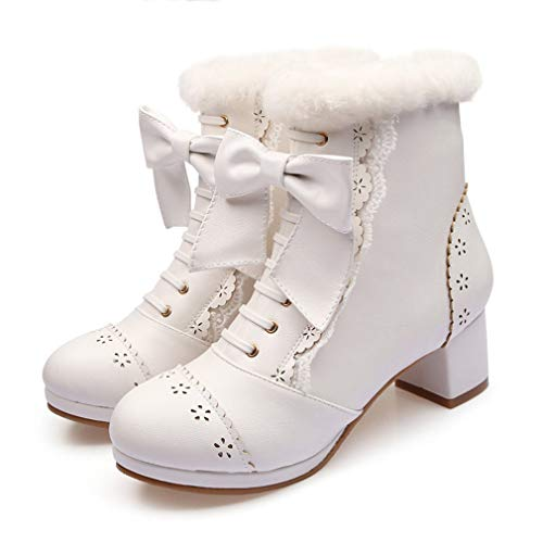 T-JULY Sweet Japanese Beauty Women Ankle Boots Winter Lace Bow Snow Boots Side Zip Platform Thick High Heels Lolita Shoes (Lace Bow Side Platform)