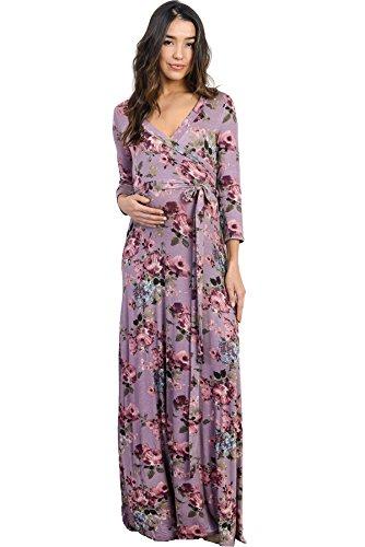 Hello Miz Women's Floral Print Draped 3/4 Sleeve Long Maxi Maternity Wrap Dress (Small, Mauve) -