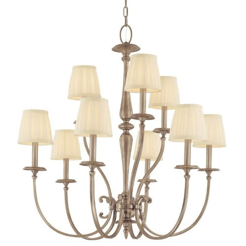 Hudson Valley Lighting Jefferson 9-Light Chandelier - Polished Nickel Finish with Off White Faux Silk Shade (Jefferson 9 Light Chandelier)