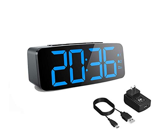 CANY Dual Alarm Clock with Large 6.3 Inch LED Display for Bedrooms, Kitchen, Desk, Shelf, Travel, Home and Business (UL Certified Power Adapter, Micro USB Cable and Backup Battery Included) (Alarm Usb Micro Clock)