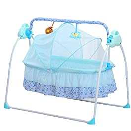 Wanlecy Electric Baby Crib Cradle Auto Swing Rocking Cot Infant Sleeping Basket with Music and Toys Newborns 0-36 Months (Blue)