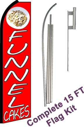 "NEOPlex - ""Funnel Cakes"" Complete Flag Kit - Includes 12' Swooper Feather Business Flag With 15-foot Anodized Aluminum Flagpole AND Ground Spike"