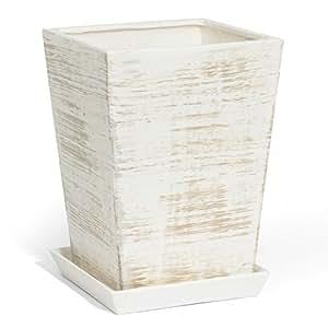Luz de cerámica para hormigón 10 cm macetero con platillo pintado a mano, VICTORIA series