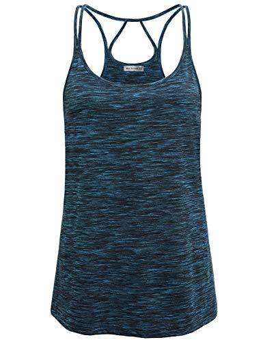 Miss Fortune Workout Tank Tops for Women Open Back, Ladies Scoop Neck Racerback Yoga T Shirt Biking Tank Top Hiking Shirts Performance Burnout Tees Yoga Clothes Plus Size Blue 2X
