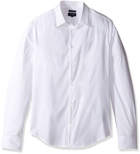 Armani Langärmliges reguläres Herrenhemd, White, XL