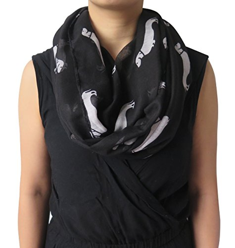 lina-lily-dachshund-dog-print-infinity-loop-scarf-for-women-lightweight-black