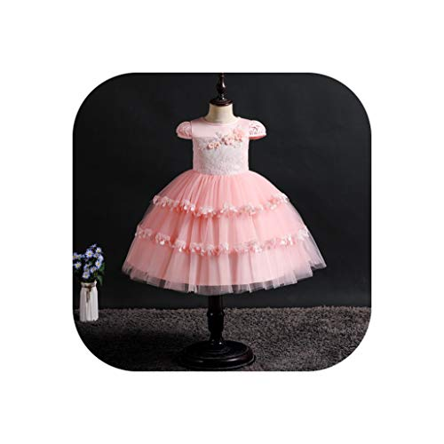 (Baby Girl Clothes Short Sleeve Flower Girl Princess Dress Wedding Presiding Birthday Party Stage Performance Lace Tutu Dress,Pink,9T)