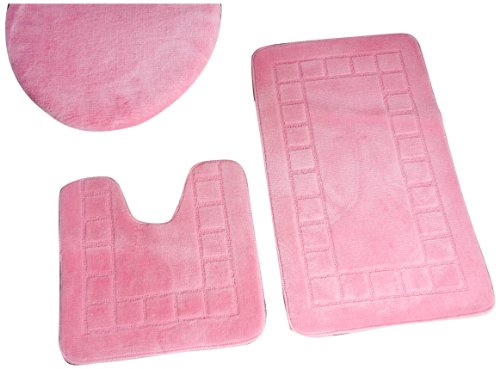 Dainty Home 3-Piece Bath Set with Rug/Contour/Lid Cover, Rose