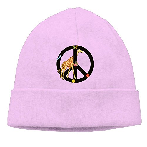 Giraffe Peace Sign Unisex Fashion Beanie Knit Hat Cap (Giraffe Peace Sign)