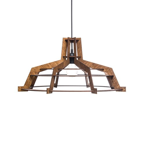 Light Provence Ceiling (Pendant light for kitchen, dining room or bedroom - 1-light hanging lamp for kitchen islands - Unique plywood ceiling light fixture for minimalistic, rustic and modern styles ALREADY ASSEMBLED)