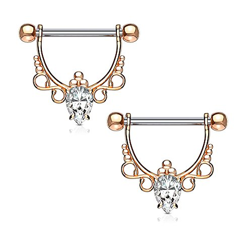BodyJewelryOnline Nipple bar rings shield barbell CZ Center with Infinite Filigree Dangle drop plated in precious metal 14Kt Gold, Rose Gold plated, Rhodium (Mens Ring 14kt Gold Jewelry)