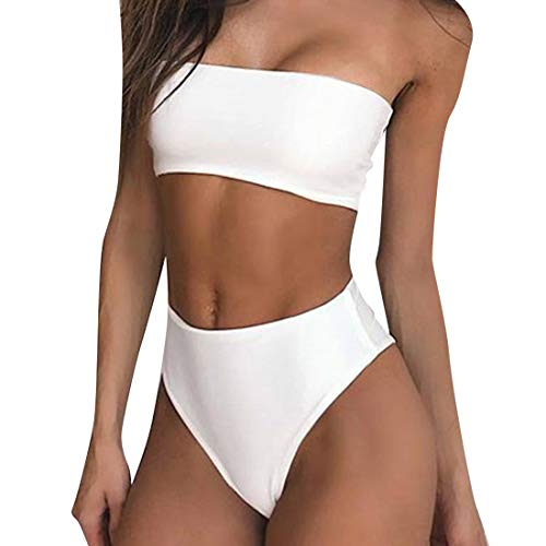 RUUHEE Women Bandeau High Waisted Two Piece Swimsuits Bikini Set High Cut (S(US Size 4-6),White-4)