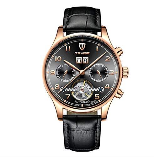 omatic Mechanical Waterproof Leather Strap Business Watch T836B,Black ()