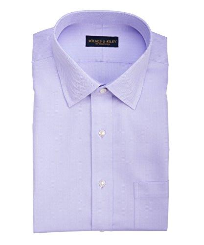 (Wilkes & Riley Classic Fit Lavender Herringbone Spread Collar Supima Cotton Non-Iron Dress)