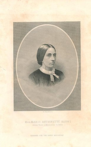 Marie Antoinette Baume India missionary 1868 nice old engraved portrait print