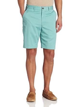 Savane Men's Eco-Start Fashion Flat Front Twill Short, Blue, 32