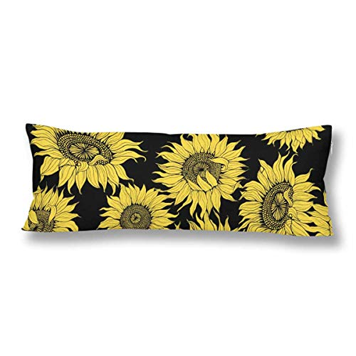 InterestPrint Yellow Sunflowers on a Black Pillow