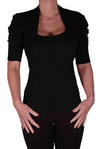 Eye Catch Lavina Short Sleeve Lurex Knitted Bolero Shrug One Size