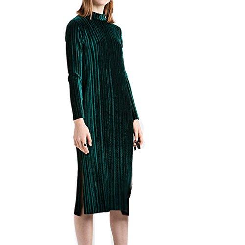 WanYang Damen Vintage Grün Plissiert Langes Kleid Warm Halten Samt ...