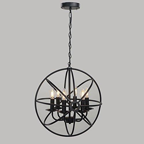 rh ruivast chandeliers lighting pendant light orb industrial ceiling hanging lamp 6light antique black metal tube