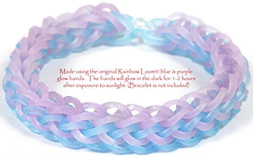 600 Count Rainbow Loom Glow Purple Rubber Bands with 24 C-Clips