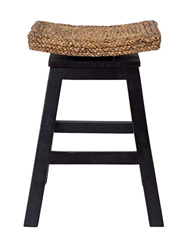 East at Main Oakland Black Wood and Water Hyacinth Counter Stool, (18x18x24)